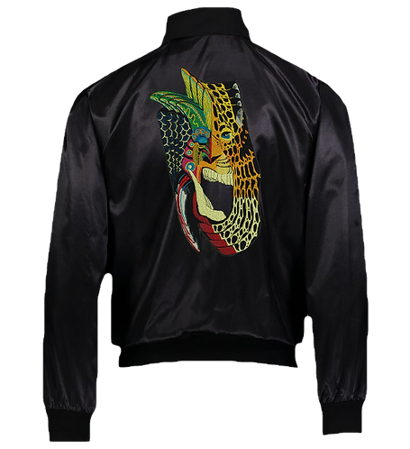 Jaguar Embroidered Satin Bomber Jacket