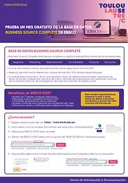 PRUEBA UN MES GRATUITO DE LA BASE DE DATOS BUSINESS SOURCE COMPLETE DE EBSCO