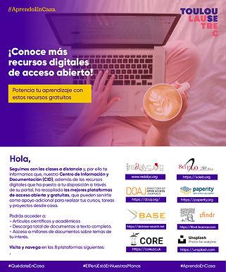 CONOCE MÁS RECURSOS DIGITALES DE ACCESO ABIERTO Y GRATUITOS