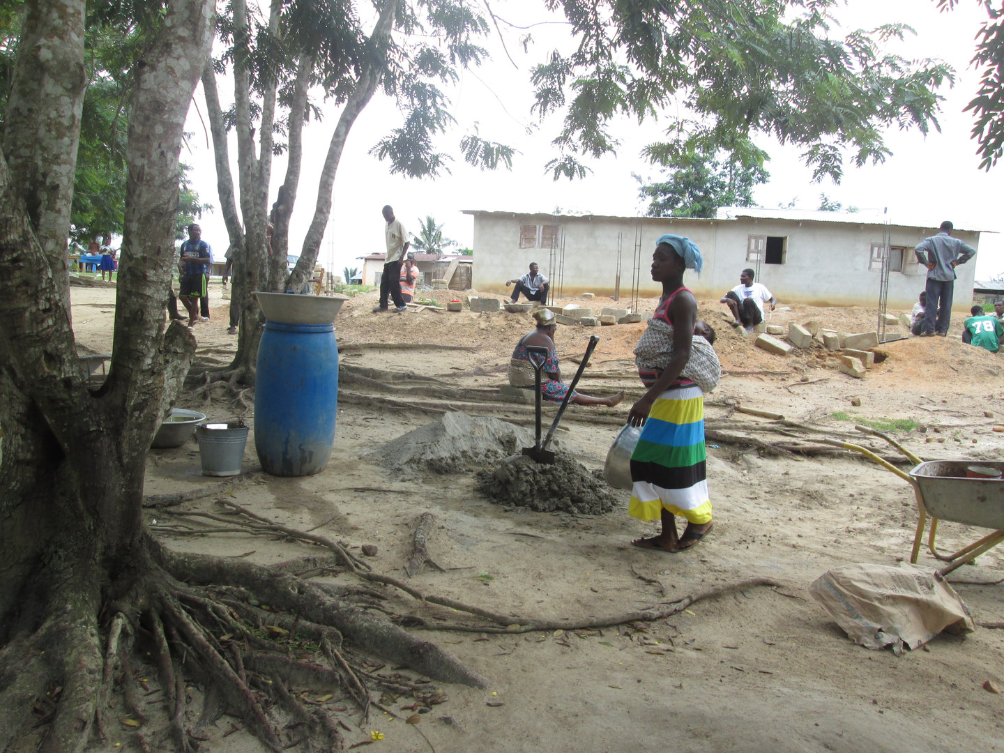 Villagers working on construction.