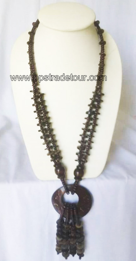 coconut shell bead necklace5839