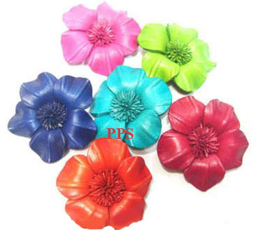 Leather Flower for hair Clips-fl5
