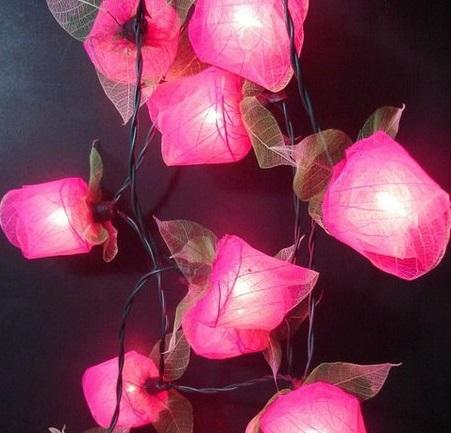 rubber leaf flower string lights