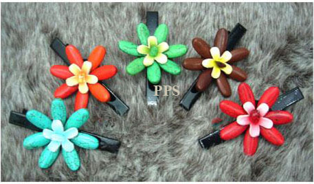 Leather Flower for hair Clips-g1