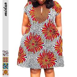 Hot Sale African Style Digital Printing Casual Dresses Women V-neck Short-Sleeve Summer Dress Side P