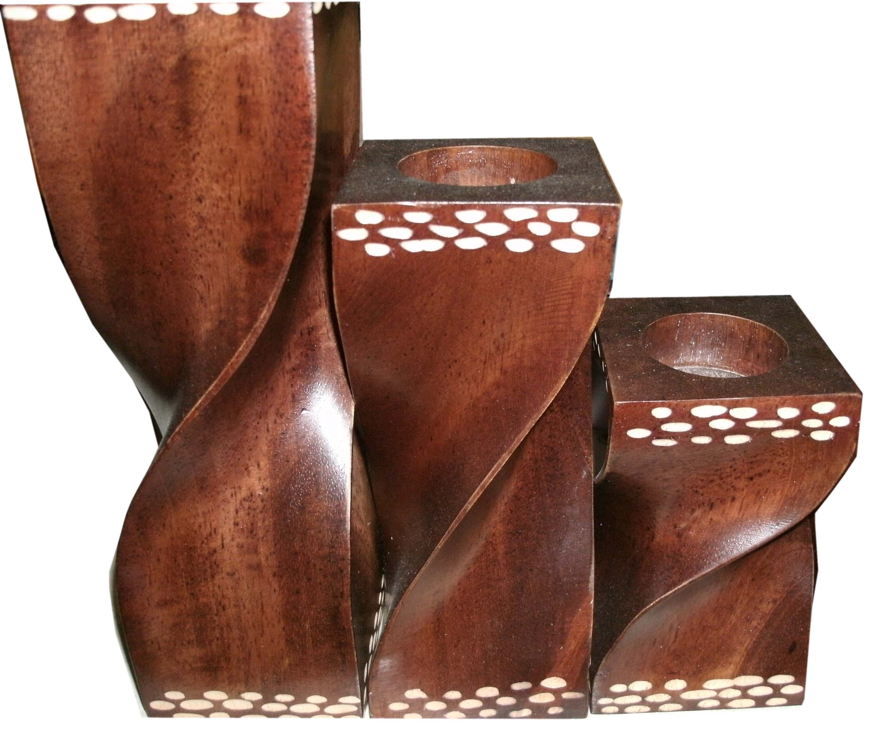 Wood candle holder-WCH-C0425