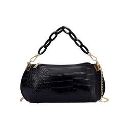Fashion Joker Pure Color Alligator Pattern Metal Chain Woman Shoulder Bag Handbag
