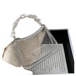 Wholesale Transparent Clear Jelly PVC Women Handbag Fashion Ladies Underarm Shoulder Bag with Acryli
