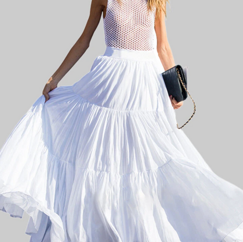Solid Color Elastic Waist Big Swing Maxi Pleated SkirtSKUF38264.png
