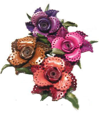 Leather Flower for hair Clips-fl10