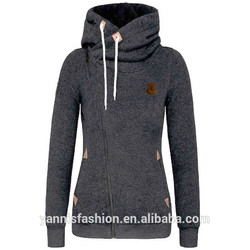 Winter Autumn Women Hoodies Sweatshirts Long Sleeve Hooded Jacket Warm Inclined Zipper Design Sweats