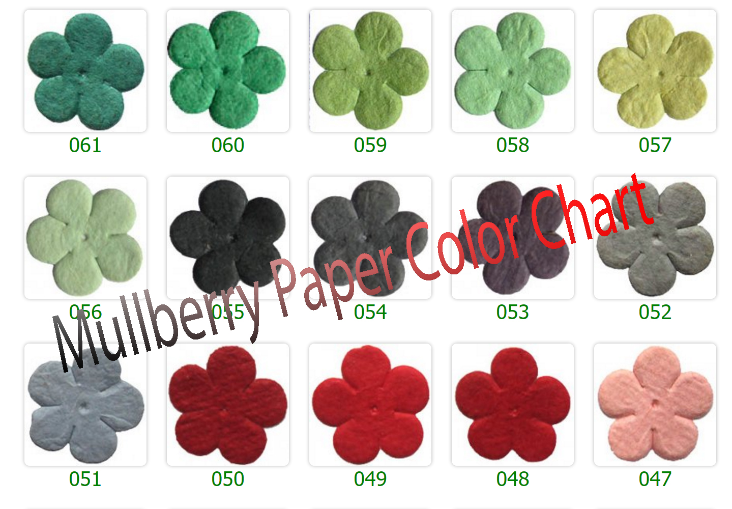 Mulberry Paper Flower Color Chart-Clib