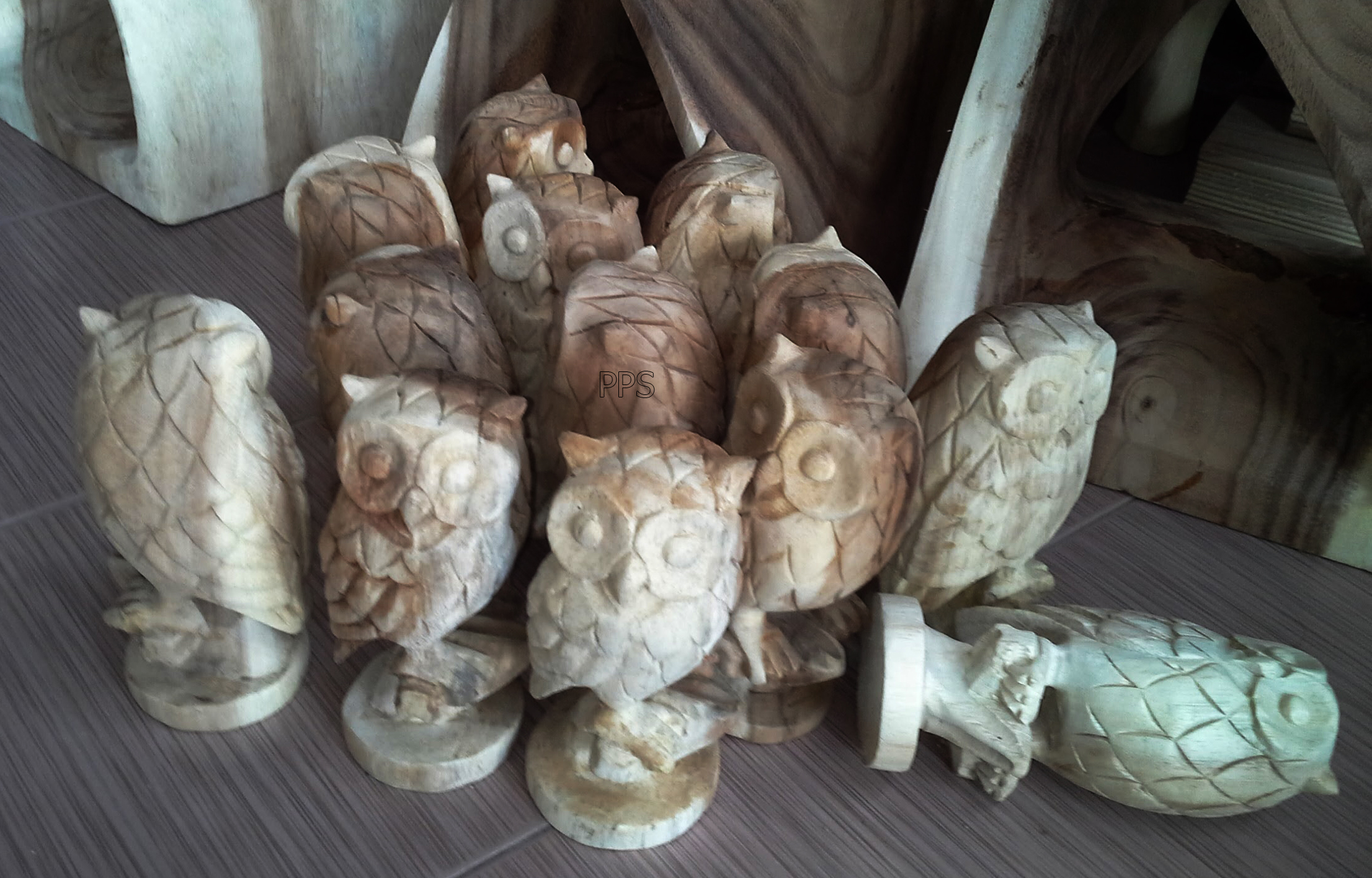 Wood owl figurine