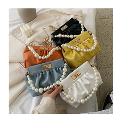 uxury Pleated Crossbody Bag Designer Women Slung Handbags Pearl Chains PU Messenger Bag Lady Elegant
