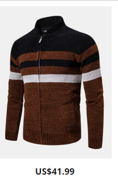 Mens Contrast Color Zipper Stand Collar Casual Knitted Cardigan Sweater