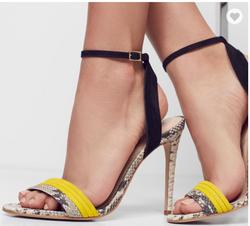 women snake printed evening sandals