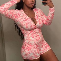 2020 Wholesale pajama onesie  sexy adult pink money one piece sleep wear onesie for women