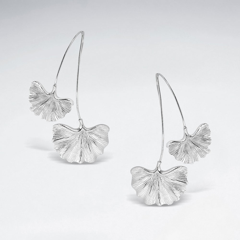 STERLING SILVER DOUBLE GINKGO LEAF EARRINGS code: PS-ES2733