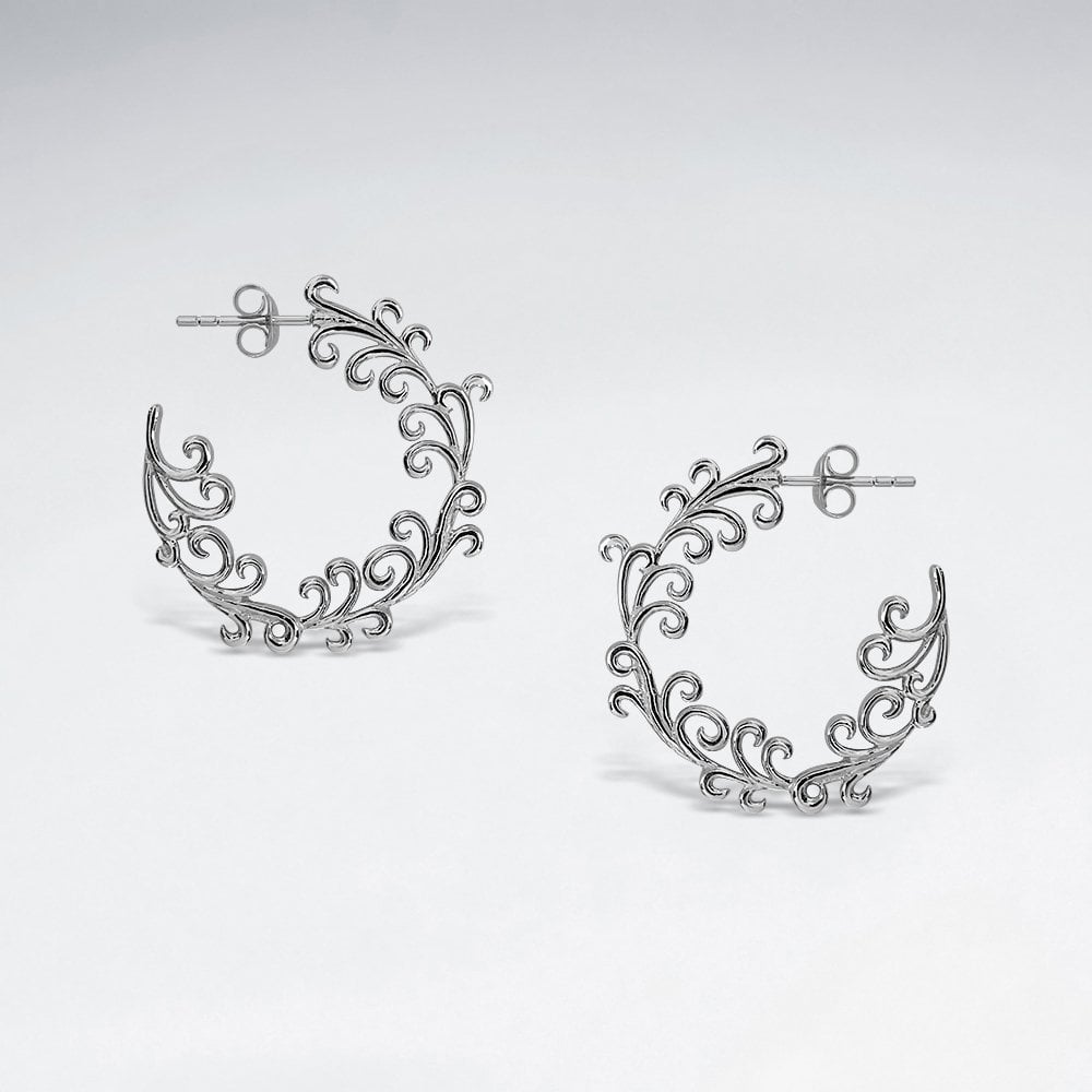 STERLING SILVER OCEAN WAVE HALF HOOP OXIDIZED EARRINGS code: PS-ES2573BK