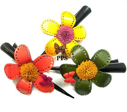 Leather Flower for hair Clips-g12