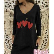 Wholesale Women Long Sleeves V-neck Heart Printed Blouse For Women