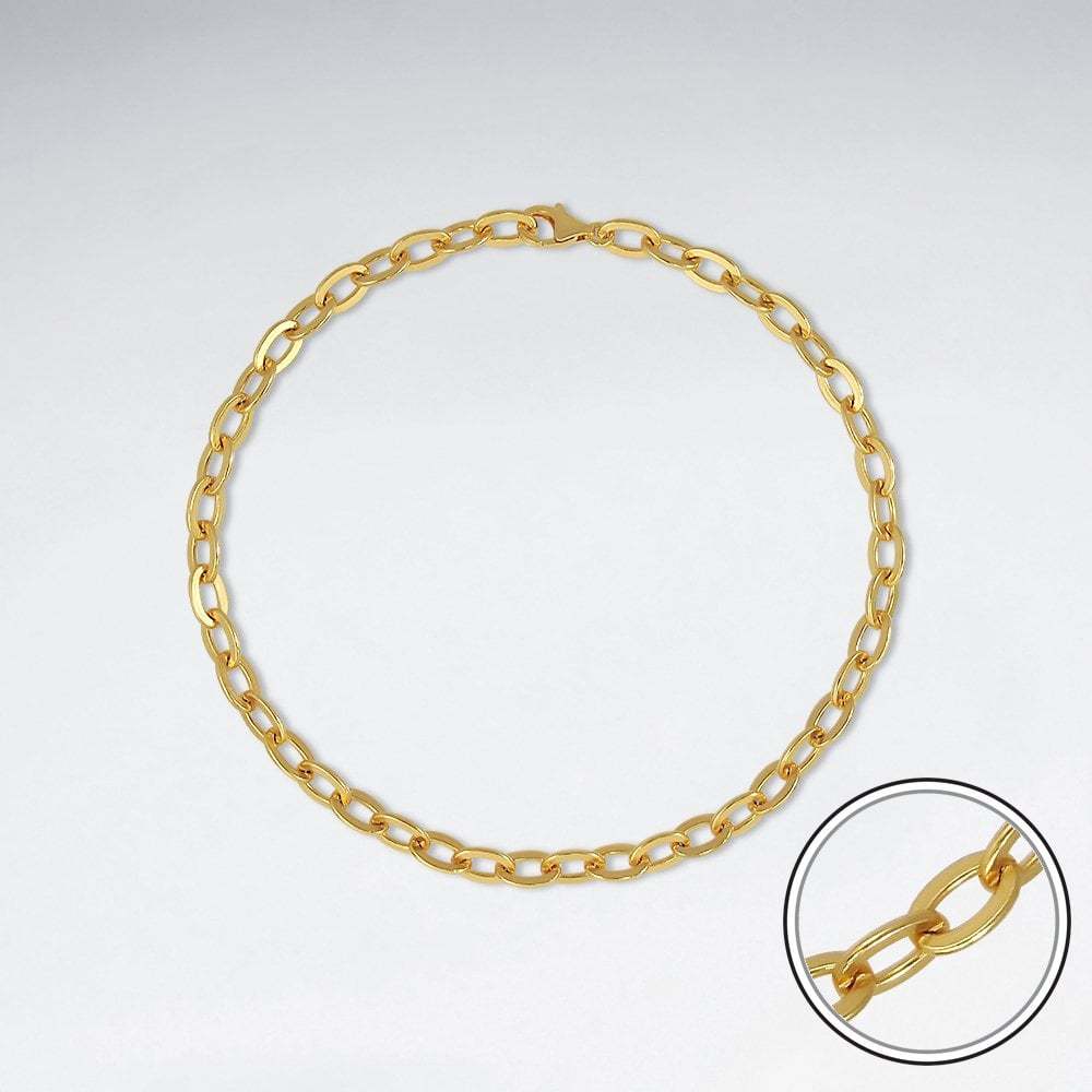 STERLING SILVER CABLE 18K GOLD PLATED WITH E-COATING CHAIN ANKLET LENGTH 10 INCHES