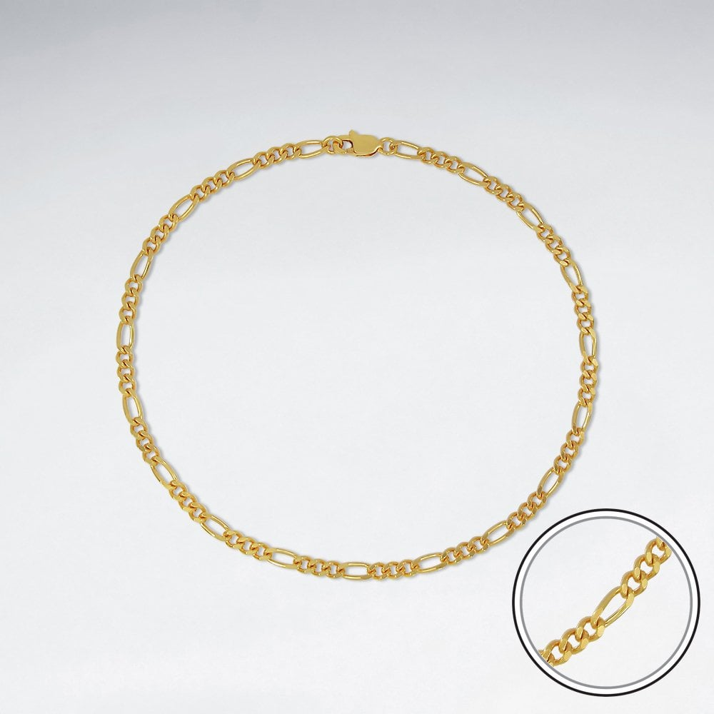 STERLING SILVER FIGARO 18K GOLD PLATED WITH E-COATING CHAIN ANKLET LENGTH 10 INCHES
