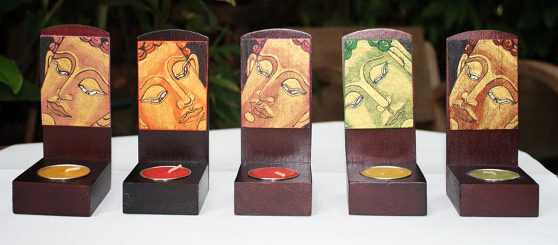 Wood candle holder-HC-039- Size     7x7x15 cm.