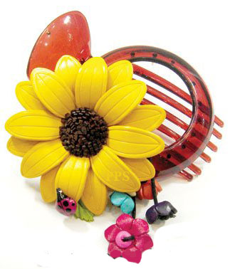 Leather Flower for hair Clips-g43