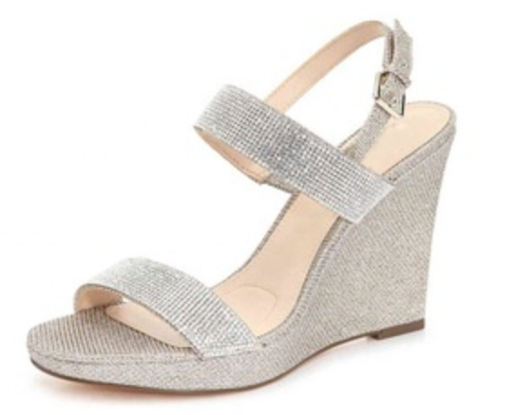 atest silver wedge heel glitter wome