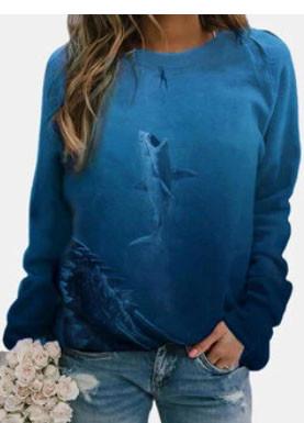 Seascape Shark Print Long Sleeve O-neck Casual Sweatshirts For Women SKUG34525