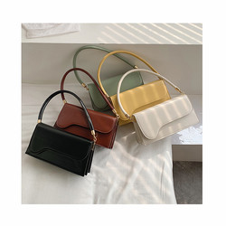 Women 2020 New Small Solid Color PU Leather Underarm Bags Female Shoulder Handbags Korean Style Thre