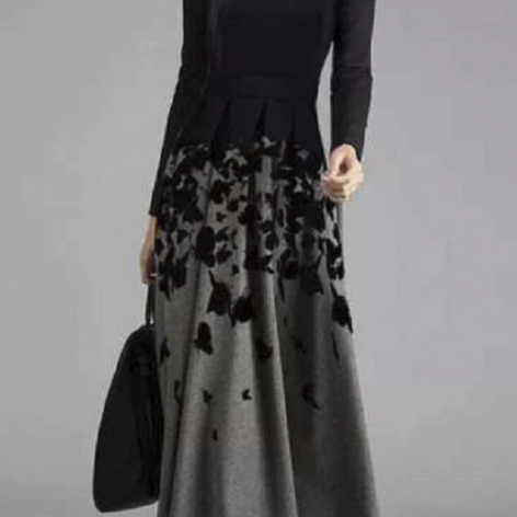 Off-shoulder Print Long Sleeve Maxi Dress For WomenSKUG53545
