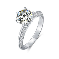 M13D 925 Sterling Silver Ring 2ct 8.0mm Moissanite Engagement Wedding Ring