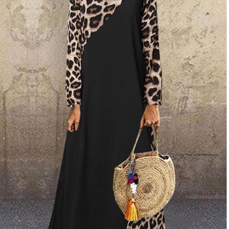 Leopard Print Patchwork Long Sleeve Vintage Plus Size DressSKUF60870.png