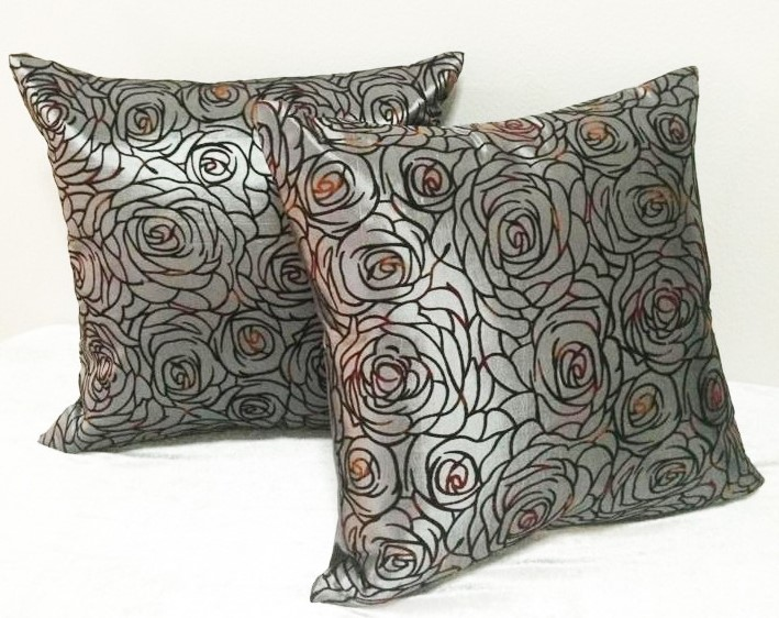 Cushion Pillow Case Gray Rose