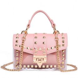 Fashion 2 in 1  Tote Bag Rivet Transparent Design Handbag Metal Chain Clutch Purse Shoulder Bags