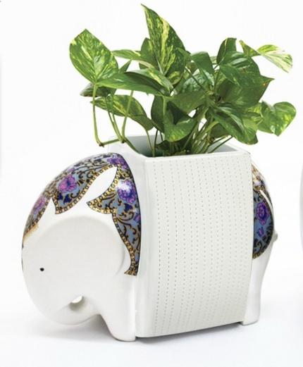 Elephant Ceramic Vase-9