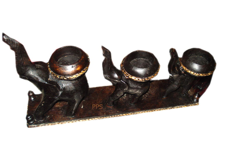 Wood elephant Candle Holder-CHD-00193-1