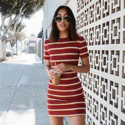 Wholesale slim red knit stripes line women dresses mini