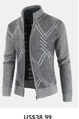 Mens Geometric Casual Stand Collar Regular Fit Knitted Sweater Cardigan
