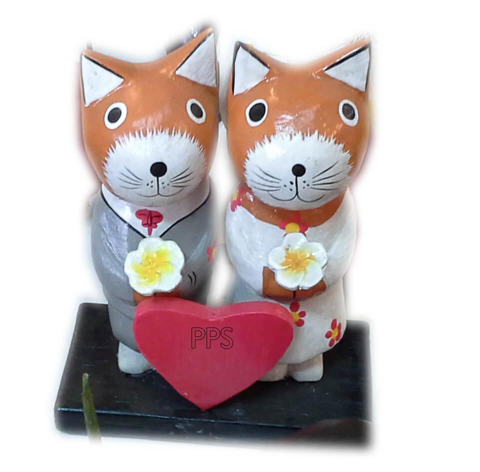 Wood Wedding Kitties