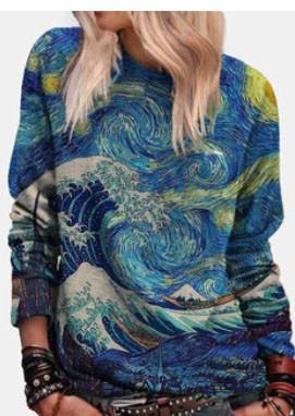 Landscape Printed Long Sleeve O-neck Sweatshirt For Women SKUG44003