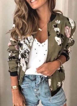 Floral Printed Zipper Fly Casual Long Sleeve Jacket SKUG11980