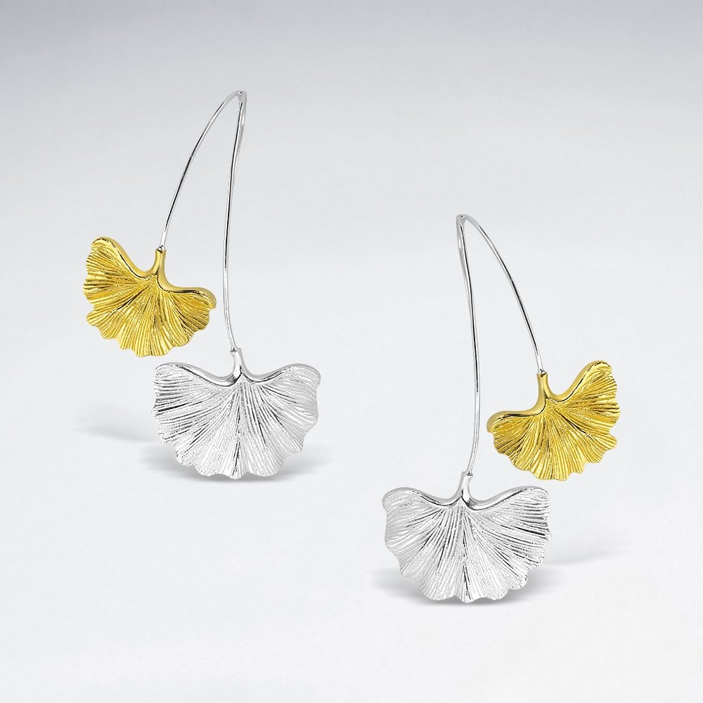 STERLING SILVER DOUBLE GINKGO LEAF SILVER AND 18K GOLD PLATED EARRINGS code: PS-ES2733SY1