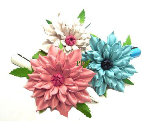 Leather Flower for hair Clips-g14