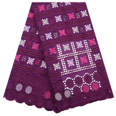 1768 Free Shipping Purple Color Lace Fabric Nigerian Big Swiss Voile Lace Fabrics