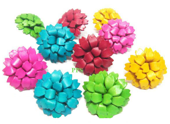Leather Flower for hair Clips-fl13
