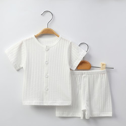 Sleeping clothes for babies, summer thin mesh children's short-sleeved suit 100% cotton