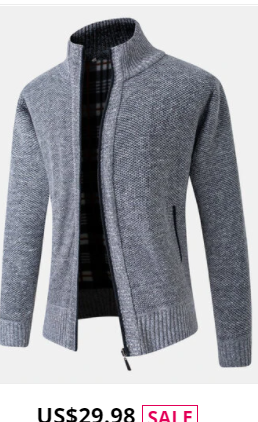 Mens Rib-Knit Zip Front Stand Collar Casual Cotton Cardigans With Pocket